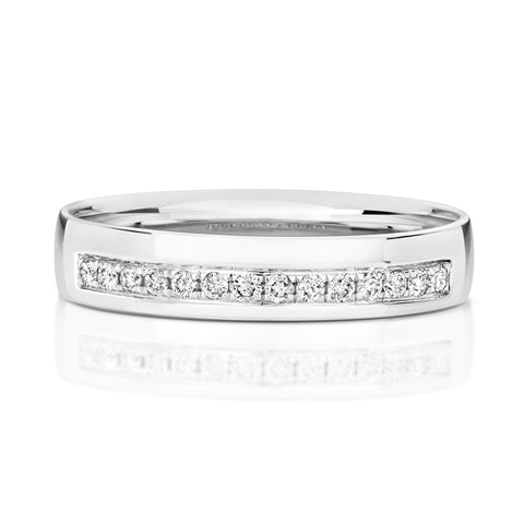 9ct white gold grain set diamond wedding ring