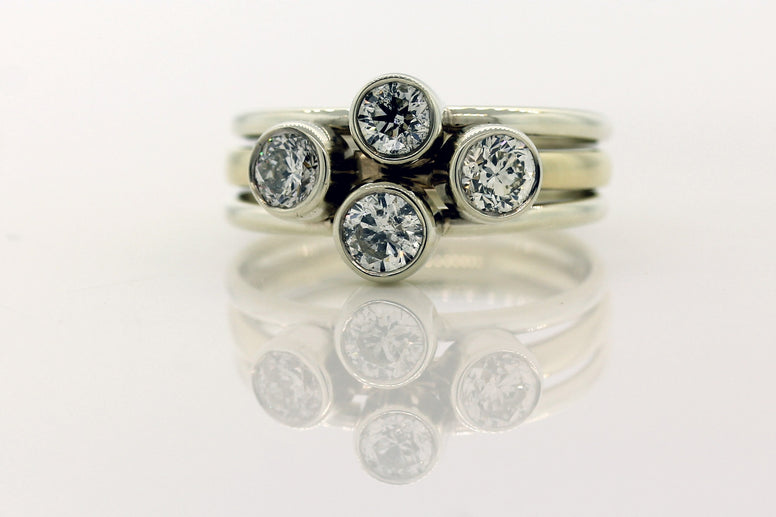 9ct Yellow And White Gold Diamond Scatter Ring.
