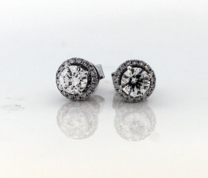 9ct White Gold Belissimo Halo Diamond Earrings