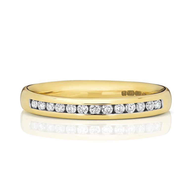 9ct Yellow Gold Ladies  33% Channel Set Wedding Ring