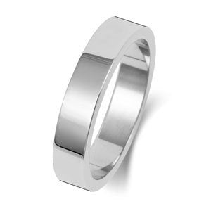 18ct White Gold 4mm Medium Court Wedding Ring