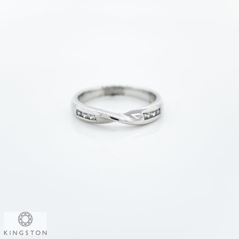 9ct White Gold Chanel Diamond Set Crossover Ring
