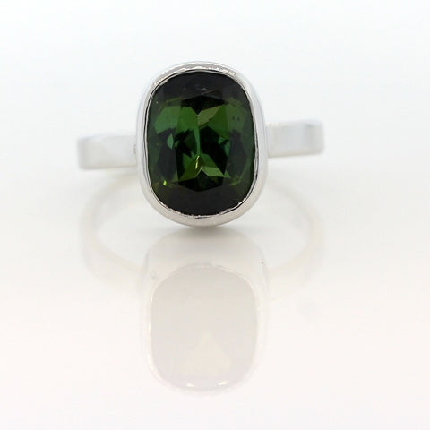 9ct White Gold Oval Green Tourmaline  Ring 4.08ct Set In A Rub Over Setting