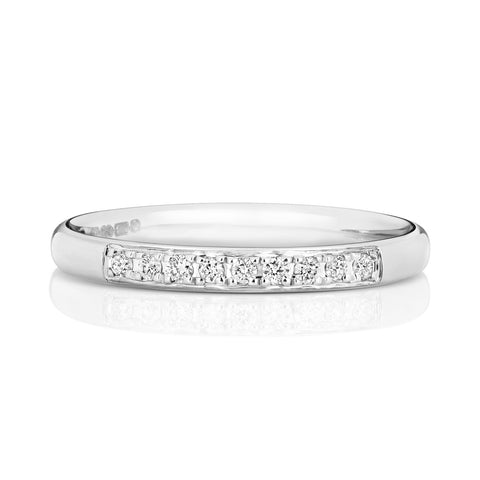 9ct White Gold Ladies 25% Grain Set Wedding Ring