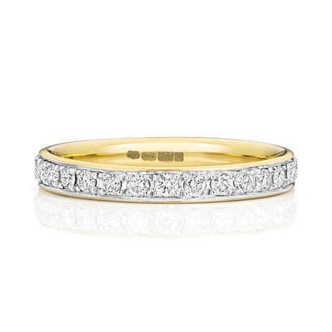 9ct yellow gold ladies full diamond band ring