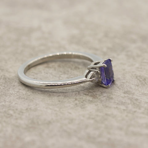 Ladies Tanzanite  and Diamond engagement ring