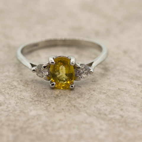 Ladies Yellow Sapphire and Diamond Trilogy Ring