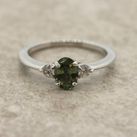 Ladies Green Sapphire and Diamond Trilogy Ring