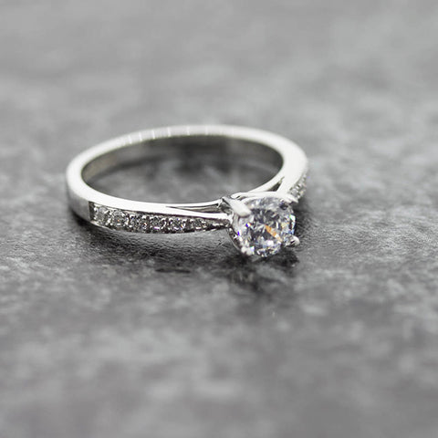 Ladies Diamond Solitaire ring with lab diamond set shoulders