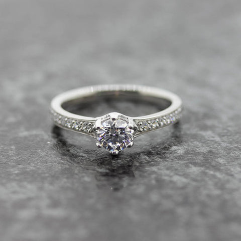 Ladies lab Diamond Solitaire Ring with Diamond shoulders