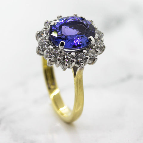 Ladies Tanzanite and Diamond Cluster Ring