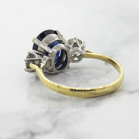 18ct Ladies Sapphire and Diamond Three Stone ring