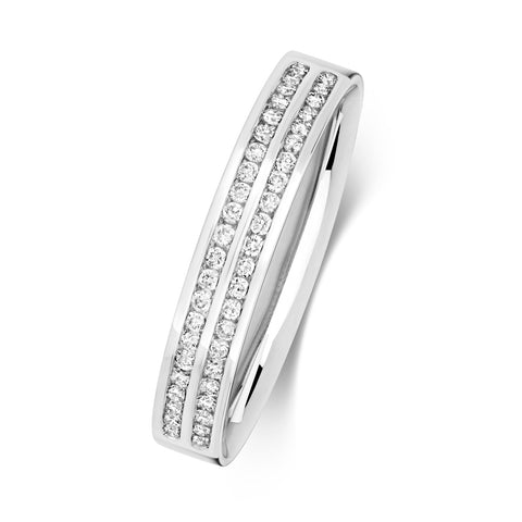 9ct White Gold Ladies Diamond Set 2 Row Wedding Ring