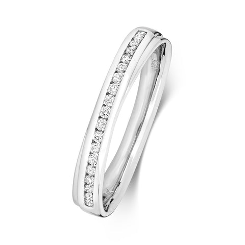 9ct white  gold channel set  diamond wedding ring