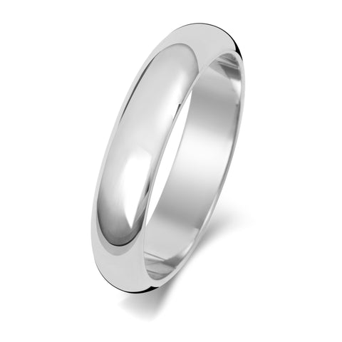 Platinum 950 4mm D Shaped Wedding Ring Medium Weight