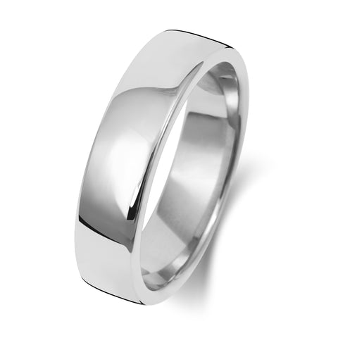 18ct White Gold 5mm Medium Court Wedding Ring