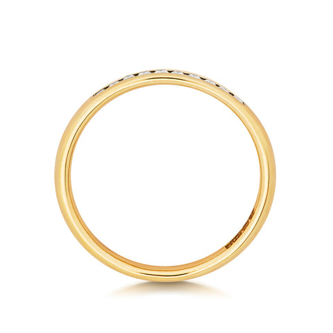 9ct Yellow Gold Ladies  25% channel set Wedding Ring