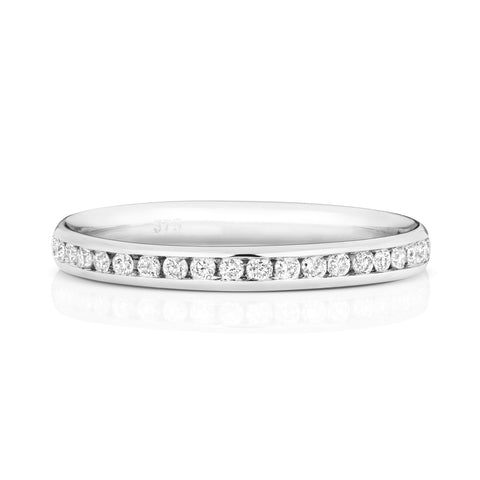 9ct White Gold Ladies 100% Channel Set Wedding Ring