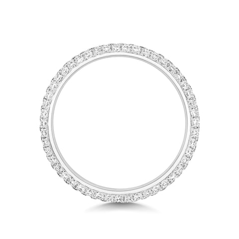 ladies diamond three row wedding ring
