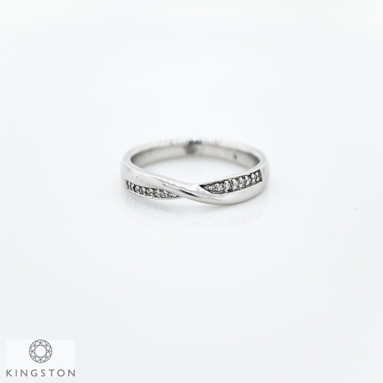 9ct White Gold Diamond Under Crossover Wedding Band