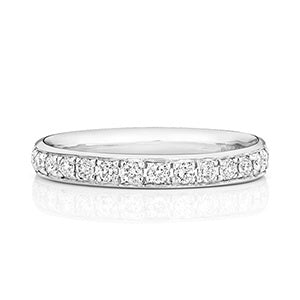 18ct White Gold Half Diamond Band