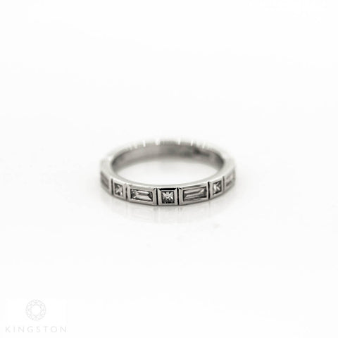 18ct White Gold Ladies Half Diamond Band Ring