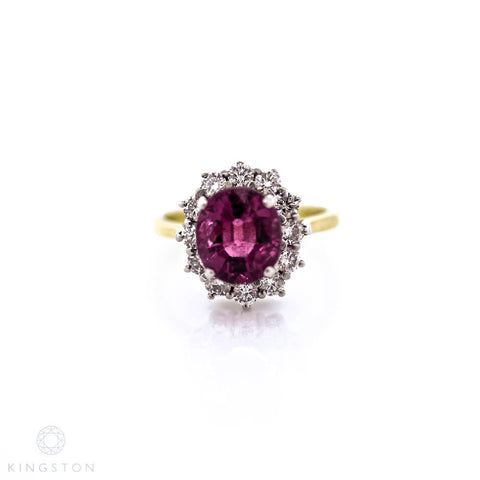 Ladies 18ct Yellow And White Gold Rare Pink Tourmaline And Diamond Cluster Ring