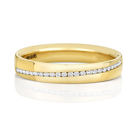 9ct yellow gold channel set wedding ring