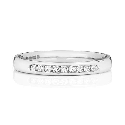 9ct White Gold Ladies 25% Channel Set Wedding Ring