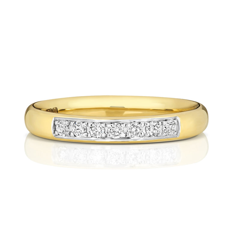 9ct Yellow Gold  Grain Set Wedding Ring
