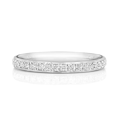 50% 9ct White Gold Grain Set Wedding Ring