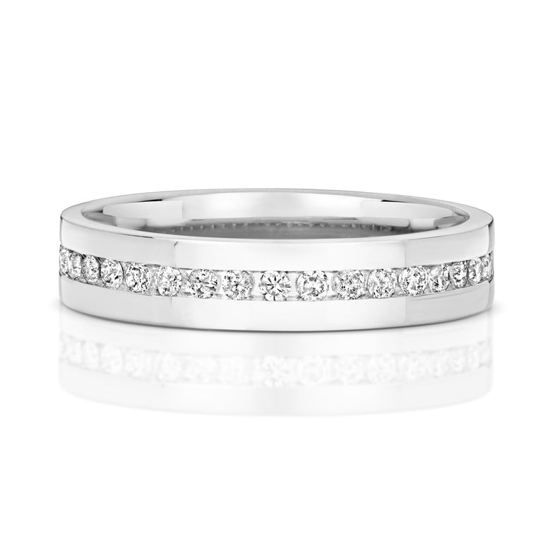 9ct White Gold Ladies channel set Diamond Wedding Ring