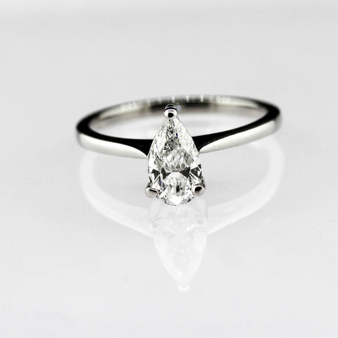 18ct White Gold Pear Shaped Diamond Solitaire