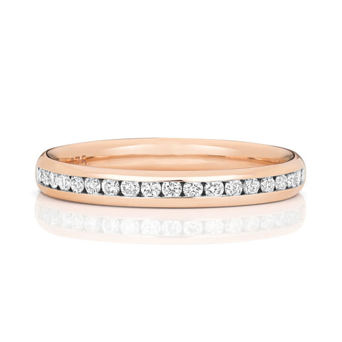 9ct Rose Gold Ladies 50% Diamond Channel Set Wedding Ring