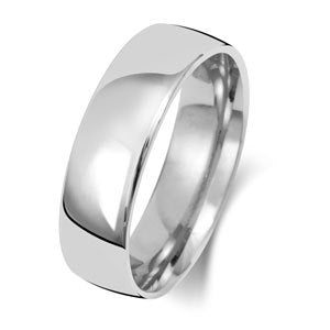 9ct White Gold 6mm Medium Court Wedding Ring