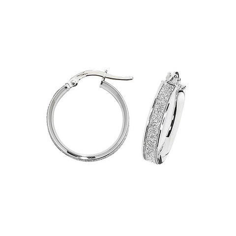 9ct White Gold 15mm Hoop Earrings