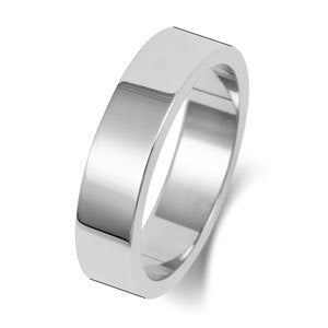 white gold flat wedding ring gents