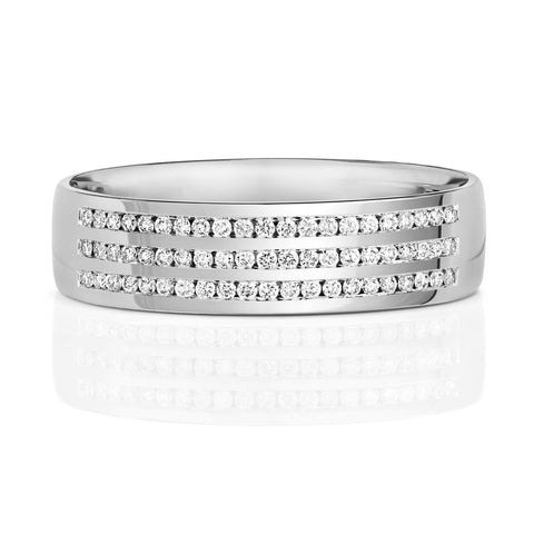 9ct Diamond-Set White Gold Wedding Ring