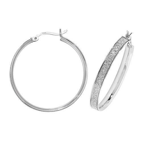 Silver Glitter Hoop Earrings-25