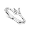 9ct white Gold Ladies  lab diamond Twist Solitaire Ring