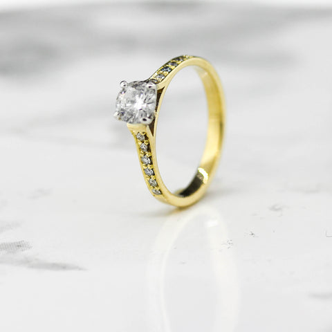 Ladies Yellow and White Gold Diamond Solitaire Ring