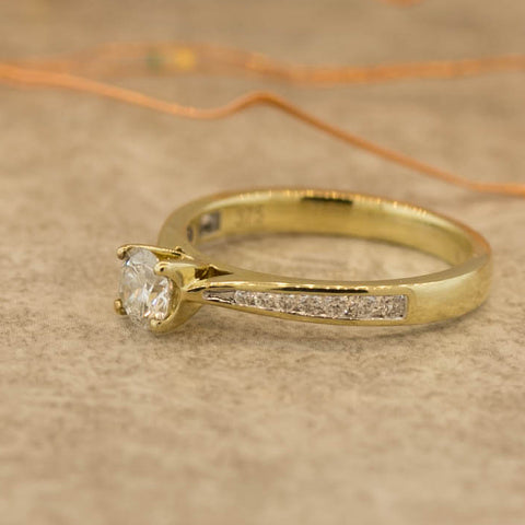 Ladies Nova Lab Diamond Collection Yellow Gold Solitaire Ring