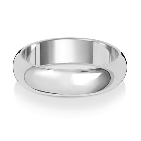 9ct White Gold 5mm Medium Weight D Shaped Wedding Ring