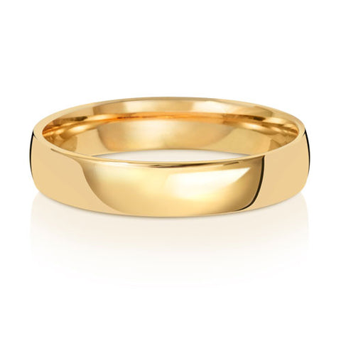 9ct Yellow Gold 4mm Light Court Wedding Ring