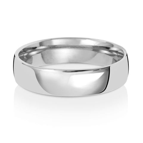 18ct White Gold 5mm Gents Medium Court Wedding Ring
