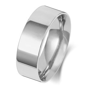9ct White Gold 7mm Heavy Flat Wedding Ring