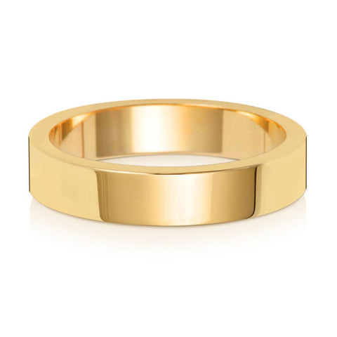 9ct Yellow Gold 4mm Heavy Flat Wedding Ring