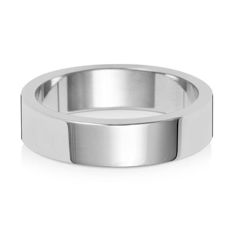 18ct White Gold 5mm Medium Flat Wedding Ring