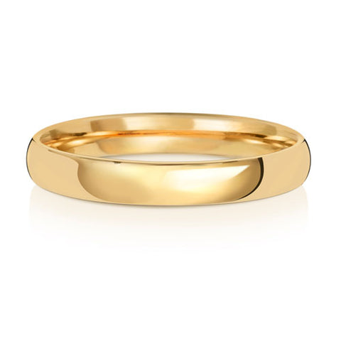 9ct Gold 3mm Wedding Ring Medium Court