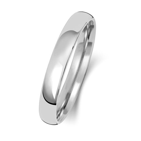 18ct White Gold 3mm Light Court Wedding Ring